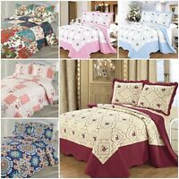 3PCS Piece Cotton Quilted BedSpread Comforter Bed Throw Bed Blanket Bed Sheet