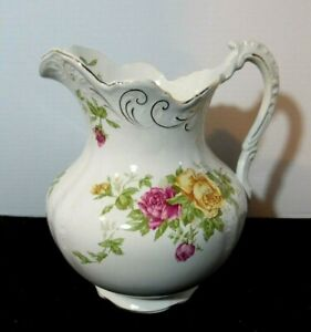 Antique Buffalo China Pottery Full Sized Pitcher Early 1900's