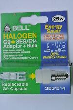 BELL 05311 SES / E14 a G9 Adattatore Raccordo convertitori con 25W 3000hr capsula LAMPADINA