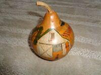 Vintage Folk art hand painted gourd Sally Cammack Cynthiana KY farm barn animals