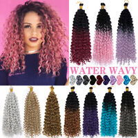 US Ombre Pink Water Wave Wavy Hair Extensions Twist Crochet Braid Thick as Human