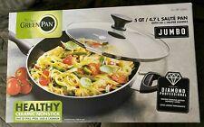 GreenPan, Jumbo 5.1 Quart Ceramic Nonstick Sauté Pan with Lid + Helper Handle