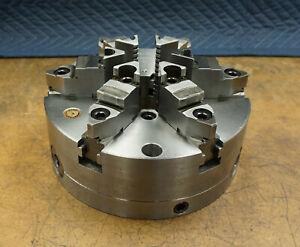 "10"" Bison 6 Jaw Set-TRU Scroll Lathe Chuck Steel Body Plain Back Fine Adjust"