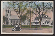 1910s Postcard Plattsburg Ny/New York St John'S Catholic Church & Rectory
