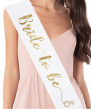 Hens Night Party Sash White with Metallic Gold Writing - BRIDE TO BE