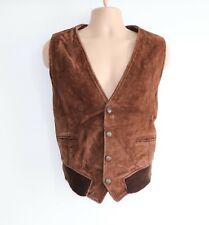 """Men's Vintage HARLEY DAVIDSON Brown 100% Leather Waistcoat Vest M Pit To Pit 24"""""""
