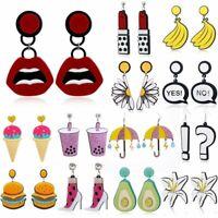 Hot Acrylic Earrings Geometric Resin Drop Dangle Stud Women Cartoon Earring Gift