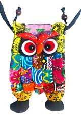 Patchwork Owl mobile phone pouch small bag with zip pocket