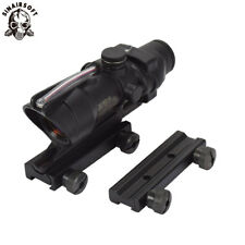 Tactical ACOG 4X32 Real Fiber Red Dot Sight Rifle scope With 11+20 mm RailMount