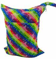 Rainbow Stars 2 pocket Zip Dry & Wet Bag - Baby Cloth Nappies Waterproof Large
