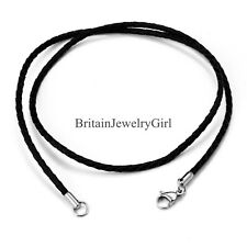 "22"" Unisex Black Leather Twisted Braided Rope Cord Necklace for Men Women*2MM"
