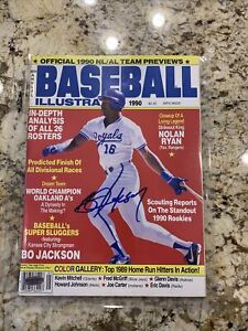 1990 Baseball Illustrated Bo Jackson on cover and signed with COA