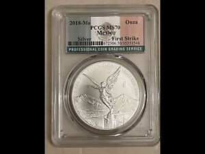 2018 Mexico 1 oz .999 Silver Onza Libertad MS70 PCGS Graded Coin