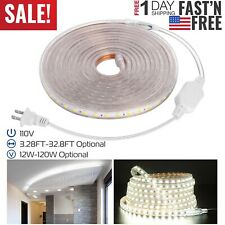 110V LED Strip Light SMD 5050 Flexible Tape Home Outdoor Lighting Rope + US Plug