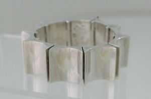 SUPERB Antonio Pineda .970 Silver Concave Link Bracelet 1958 Weapon-Like Weight