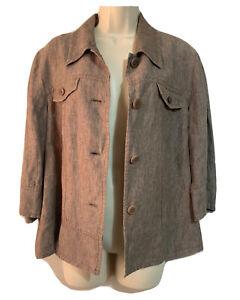 GERRY WEBER Y2K Cargo JACKET Chambray Linen Brown Blazer Safari Women's UK 14