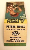 Old Matchbook Cover Peters Motel US 27 Ithaca MI