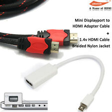 Mini Display Port DP Thunderbolt to HDMI Cable Converter+15FT Braided HDMI Cable