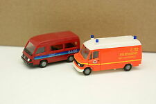 Herpa 1/87 HO - Lot de 2 Fourgons Mercedes 100D et 309D Pompiers Feuerwehr