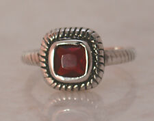 SQUARE GARNET JANUARY BIRTH RING All Genuine Sterling Silver.925 Stamped Size 6