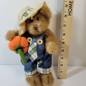 "Ganz 11"" Jointed Teddy Bear Bradford Denim Coveralls Pumpkin Fall"
