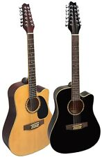 Gitarre/Westerngitarre-12Saiten-Dreadnought-Cutaway-zwei Modelle-schwarz+natur!n
