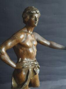 Antike Metall Figur  MOISSON EST ABOND'ANTE  signiert: Aug.Moreau