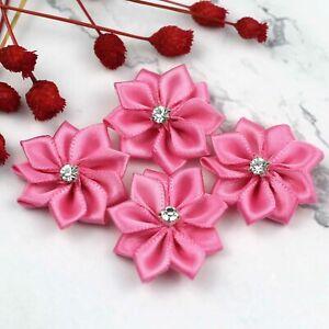 "20P 1"" Satin Ribbon Flowers w/Rhinestone Bows Craft Supplies Sewing Appliques"