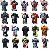 Men's Skull Cycling Jersey Short Sleeve Cycle Top with Reflective Zip Pocket