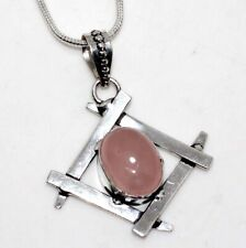 """Rose Quartz 925 Sterling Silver Plated Necklace 18"""" Jewelry GW"""