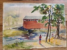 "vintage Baltimore MD artist SARAH CAROTHERS RHODE Painting ""Covered Bridge swim"