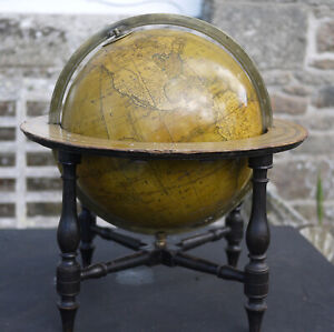A GOOD ANTIQUE 12 INCH DIAMETER TERRESTRIAL TABLE GLOBE BY BARDIN DATED 1802