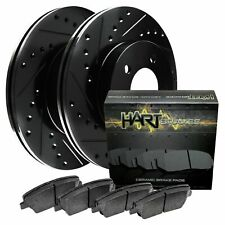 Fit 2012-2013 Nissan Versa Front Black Drill Slot Brake Rotors+Ceramic Brake Pad