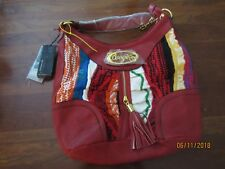 Brand new with tags artsy Coogi shoulder bag boho red leather large