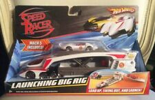 "Hot Wheels 10"" LAUNCHING BIG RIG & MACH 5 SPEED RACER Toy Car MATTEL Transporter"