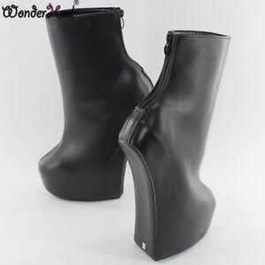 Wonder Heel 20cm Heelless Clubwear Fetish Back Zipper Training Women Ankle Boots