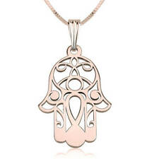 Rose Gold Hamsa Hand of Fatima Style Pendant - Rose Gold Plated Fashion Necklace