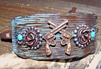 Rustic Western Bracelet Pistol Gun Wide Adjustable Cuff Cowgirl Fashion Jewelry