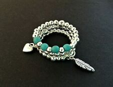 FEATHER & HEART CHARM TURQUOISE GEM STRETCH STACKING SILVER THUMB RING SET OF 3