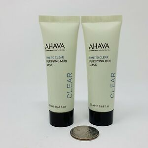2x Ahava Time To Clear Purifying Mud Mask 0.68oz / 20ml Each New Sealed