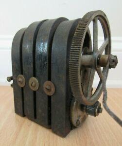 ANTIQUE VINTAGE 4 BAR TELEPHONE HAND CRANK MAGNETO GENERATOR Kellogg?