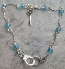 """Handcuffs Key Charm Blue Crystal Beaded Anklet 10.5"""" Slave Sub Qos Hot Wife"""
