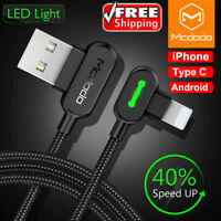 Lightning Bolt Smart Braided Fast Charging cable Fr iPhone Samsung Micro Android
