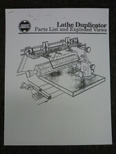 SHOPSMITH LATHE DUPLICATOR PARTS MANUAL w/ EXPLODED VIEWS