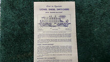 LIONEL # 600 LIONEL DIESEL SWITCHERS INSTRUCTIONS PHOTOCOPY