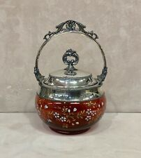 ANTIQUE VICTORIAN CRANBERRY ENAMELED SILVER PLATE COVERED JAR