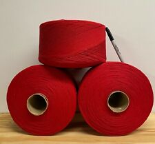 Yarn Lot 3 XL Cones Red -Cotton-Acry 11+ POUNDS!!