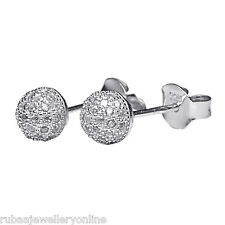 5mm PAVE SET CUBIC ZIRCONIA BALL RHODIUM PLATED 925 STERLING SILVER STUD EARRING