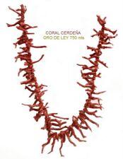 COLLAR de CORAL CERDEÑA ALTA CALIDAD Y ORO de LEY 750 mls 55 CM. ESTUCHE LUJO