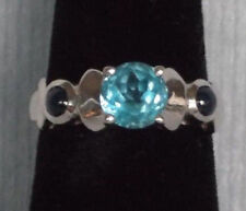 Vintage Art Deco Style Blue Topaz Sapphire 14K White Gold Ring